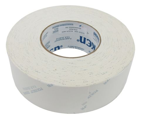 POLYKEN� 225FR-2-WHT White 12mil Flame Retardant Cargo Pit Duct Tape - 48mm x 55 Meter Roll