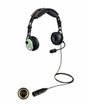 David Clark 43106G-02 Model DC PRO-2 Passive Mono 5' Straight Cord 5-pin XLR Airbus Plug Aircraft Headset