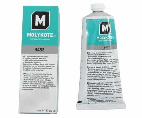 DOW® 2293668 MOLYKOTE™ 3452 White Translucent Chemical Resistant Valve Grease - 57 Gram Tube