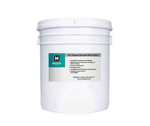 DOW® 2722119 MOLYKOTE™ 3452 White Translucent Chemical Resistant Valve Grease - 18.1 Kg (40 lb) Pail