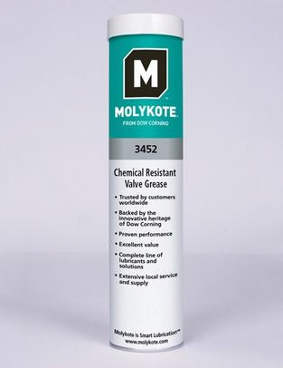 DOW® MOLYKOTE™ 3452 White Chemical Resistant Valve Lubricant - 550 Gram (19.4 oz) Cartridge