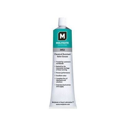 DOW® 12025497 MOLYKOTE™ 3452 White Translucent Chemical Resistant Valve Grease - 220 Gram Tube