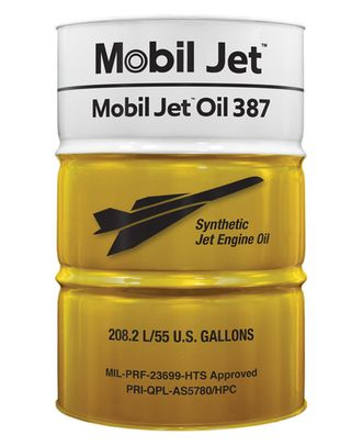 Exxon Mobil Jet™ Oil 387 Orange MIL-PRF-23699 Spec Aircraft-Type Gas Turbine Oil - 55 Gallon (206.9 Kg) Drum