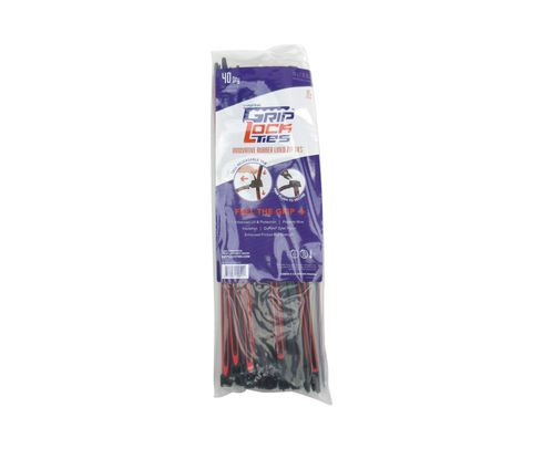 "GripLockTies� GLT2912BLKRDHB40 Black Nylon 12.35"" Red Rubber Lined Zip Ties� - 40 Each/Pack"