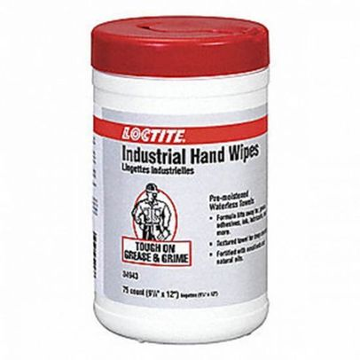 """Henkel 337637 LOCTITE� SF 7617 White 9.5"""" x 12"""" Industrial Hand Cleaning Wipes - 75 Wipe/Tub"""