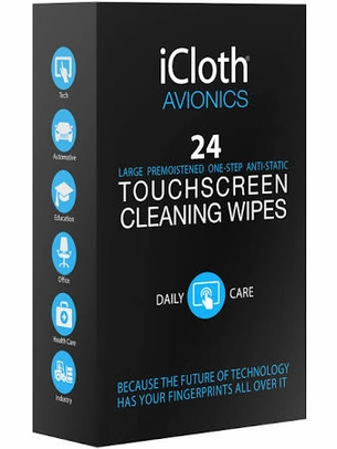 iCloth iCA24 Avionics Touchscreen Cleaning Wipes - 24 Wipe/Box