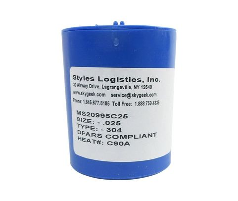 "Military Standard MS20995C25 Stainless Steel 0.025"" Diameter DFAS Compliant Safety Wire - 1 lb Roll"