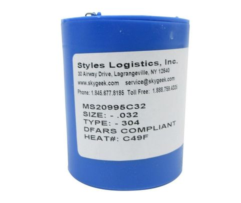 "Military Standard MS20995C32 Stainless Steel 0.032"" Diameter DFAS Compliant Safety Wire - 1 lb Roll"