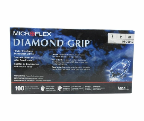 Microflex MF-300-S Diamond Grip Natural Small Powder-Free Latex Gloves - 100 Glove/Box
