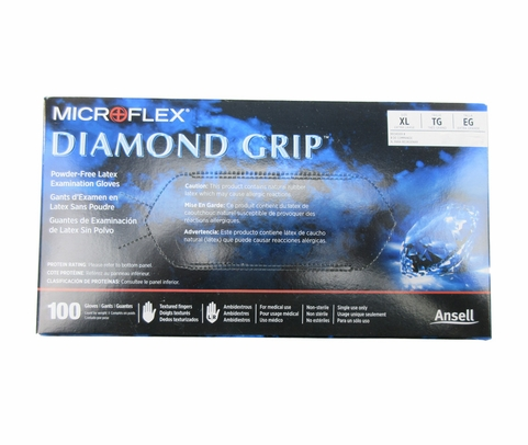 Microflex MF-300-XL Diamond Grip Natural Xtra-Large Powder-Free Latex Gloves - 100 Glove/Box