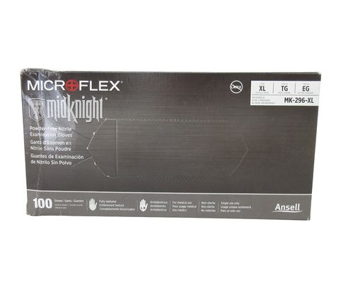 Microflex MK-296-XL MidKnight Black Xtra-Large Powder-Free Nitrile Disposable Gloves - 100 Glove/Box