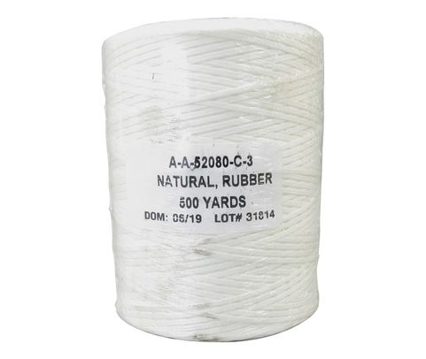 Military Specification A-A-52080-C-3 Natural Nylon/Synthetic Rubber Finish Tape, Lacing & Tying Cord - 500 Yard Spool