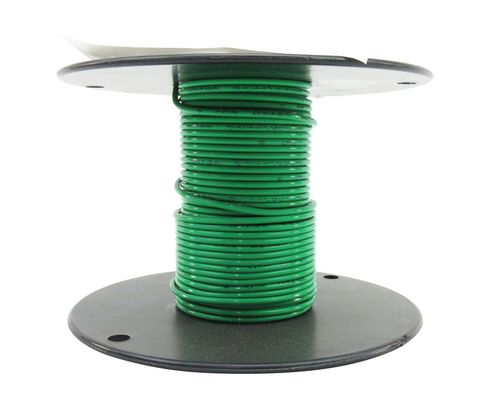 Military Specification M22759/11-12-5 Green 12 AWG PTFE Tapes/Coated Fiberglass Braid Wire - Sold per Foot