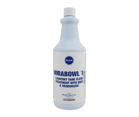 Mirandy Mirabowl Q Dark Blue (Ready to Use) Aircraft Lavatory Tank Deodorant & Cleaner - Quart Bottle
