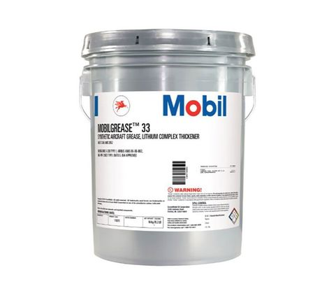 Exxon Mobil Mobilgrease 33 Blue-Green BMS 3-33B, Type 1 Spec Synthetic Aviation Grease - 16 Kg (35 lb) Pail
