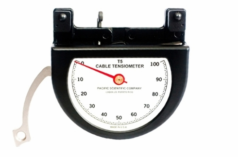 """Pacific Scientific T5-8003-107-00 Black Dial Indicating 3/16"""" to 5/16"""" & 100-800 lbs Cable Tensiometer"""