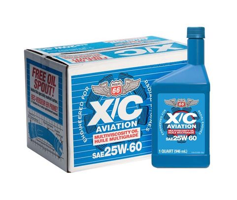 Phillips 66® X/C® 25W-60 Multi-Grade Radial Engine Aircraft Oil - 12 Quart (946 mL) Bottle/Case
