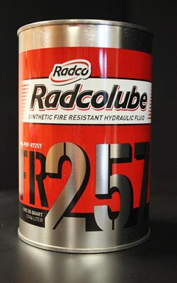 RADCOLUBE® FR257 Red MIL-PRF-87257C Spec Fire-Resistant Synthetic Low Temperature Hydraulic Fluid - Quart Can