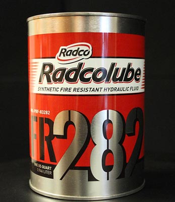 RADCOLUBE® FR282 Red MIL-PRF-83282D(1) Spec Fire-Resistant Synthetic Low Temperature Hydraulic Fluid - Quart Can