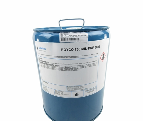 ROYCO� 756 Red MIL-PRF-5606H Amend. 3 Spec Mineral Oil Based Aircraft Hydraulic Fluid - 5 Gallon Steel Pail