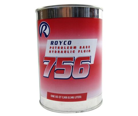 ROYCO� 756 Red MIL-PRF-5606H Amend. 3 Spec Mineral Oil Based Aircraft Hydraulic Fluid - Quart Can