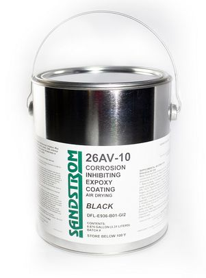 Sandstrom 26AV-10 Black Air Drying Corrosion Inhibiting Heat & Chemical Resistant Epoxy Coating - 87.5% Gallon Can