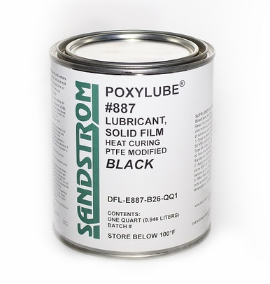 Sandstrom Poxylube� #887 Black PTFE Heat Cure Satin Texture Dry Film Lubricant - Quart Can