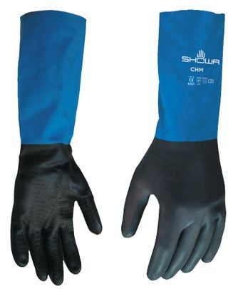 SHOWA� CHML-09 Black/Blue Large Neoprene on Latex Straight Cuff Chemical Resistant Glove - Pair