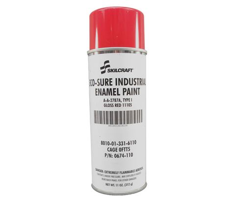 Skilcraft® 0674-110 ECO SURE® FS 11105 Gloss Red A-A-2787A Type I Spec Industrial Enamel Paint - 11 oz Aerosol Can