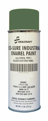 Skilcraft® 0674-141 ECO SURE® FS 14064 Gloss Olive Drab A-A-2787A Type I Spec Industrial Enamel Paint - 11 oz Aerosol Can