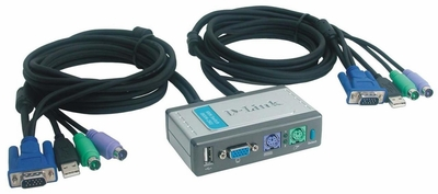 DKVM-2KU D-Link 2-Port KVM Switch with USB Port and Built in Cable