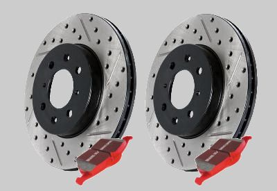 StopTech 1993-1998 Toyota Supra Cross Drilled & Slotted Front Rotor & Ceramic Pad Kit