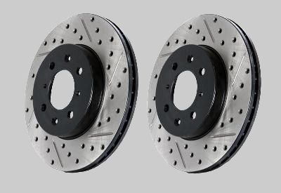 Toyota Supra Cross Drilled & Slotted Front Rotors Stoptech 1993-1998 TT