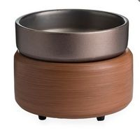 Ceramic Warmer & Dish Walnut/Pewter