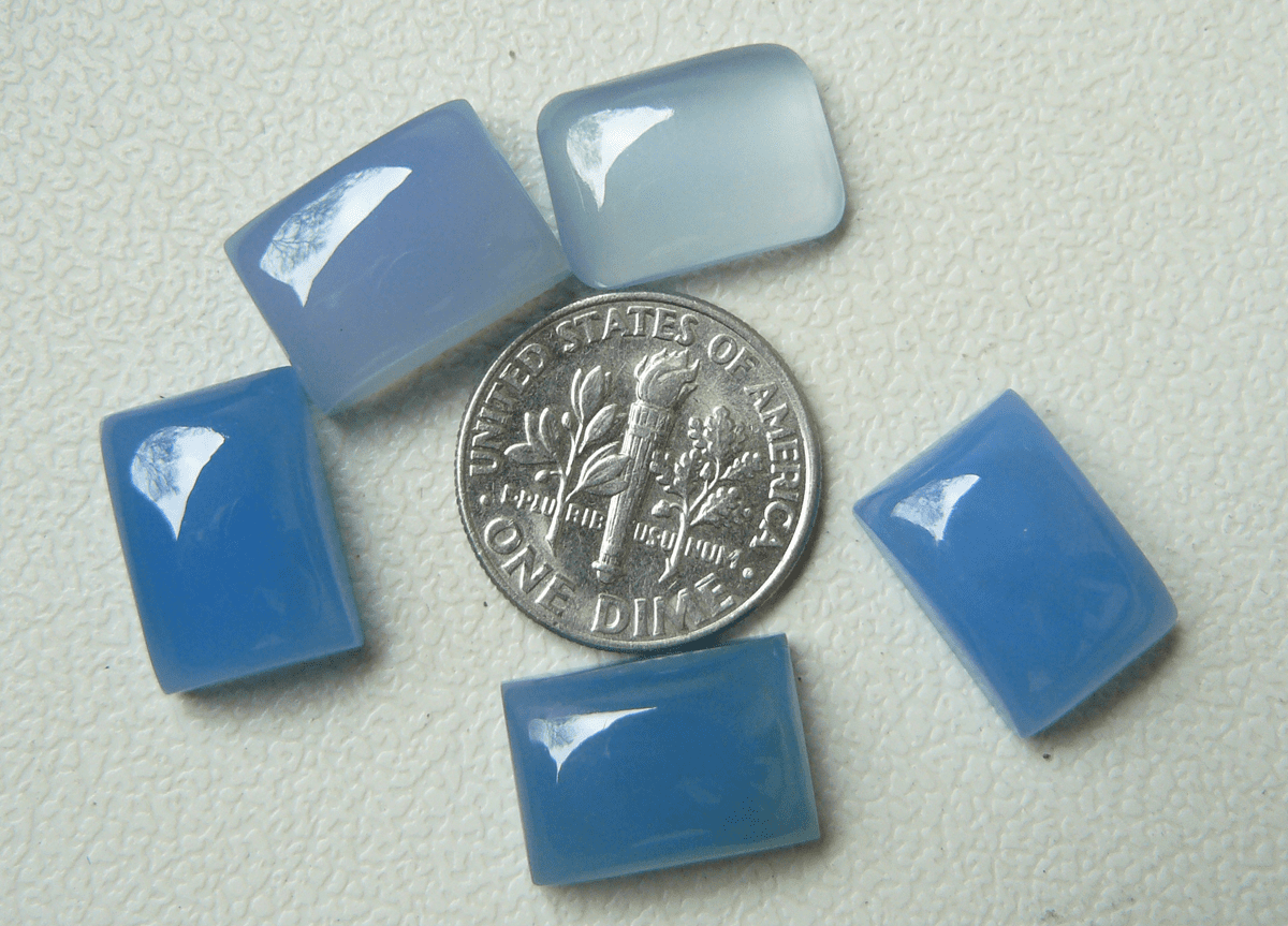 10X14 Rectangle Blue Chalcedony cabochons