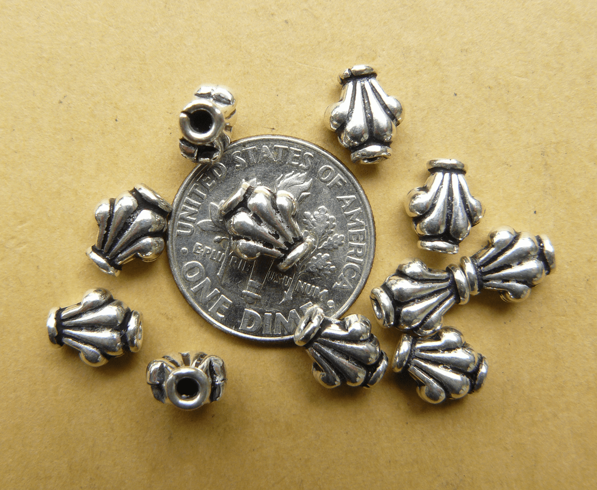 11 Sterling Silver Fancy Design Beads 5x8mm 4mm thick