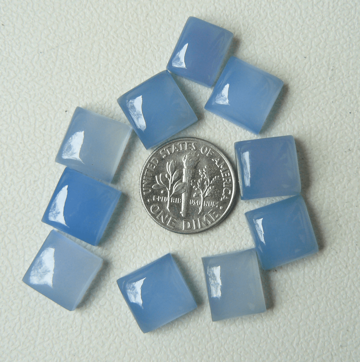 11MM Square Cabochons Blue Chalcedony