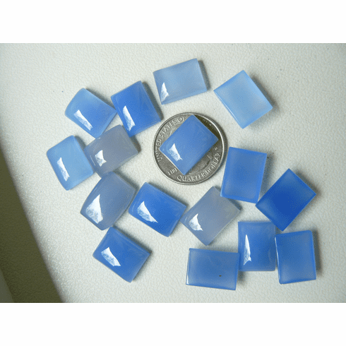 12x16mm Rectangle Cabochons Blue Chalcedony