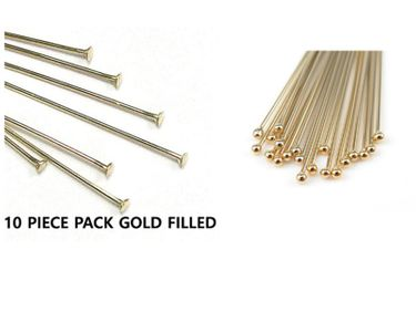 HEAD PINS GOLD FILLED FLAT OR BALL TIP 22 OR 24 GA.