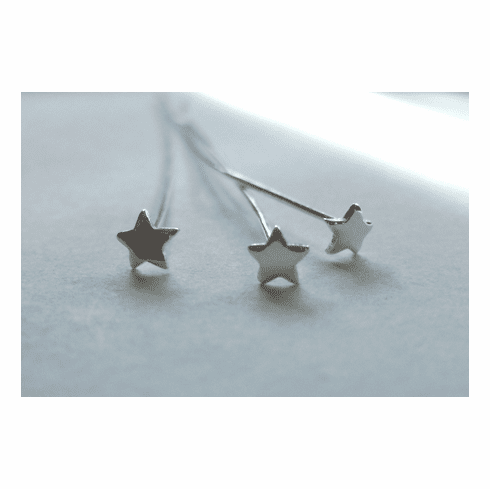 "2.5"" Star Shaped Head Pin - 22ga. - 50 Pieces - .999 Silver Over Copper"