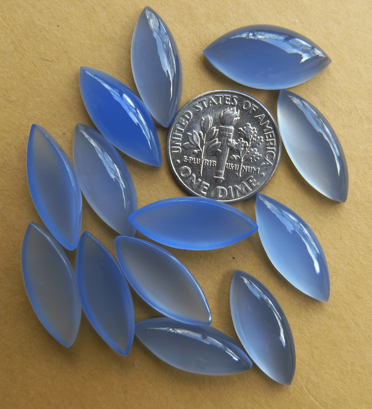 2 Marquise 8x20mm Blue Chalcedony Cabochons (set of 2)