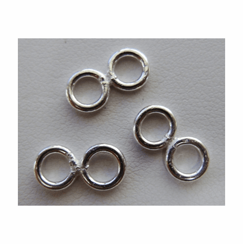 2-Ring Connector - Two 6mm Rings Fused Together - Approx. 45 Pieces - .999 Silver Over Copper