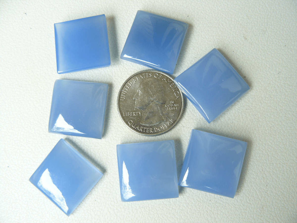 20MM Square Blue Chalcedony Cabochons (SOLD OUT)