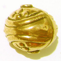 Swirled Bead - 16x18mm - 24 kt. Gold Over Copper<br>GCBK112