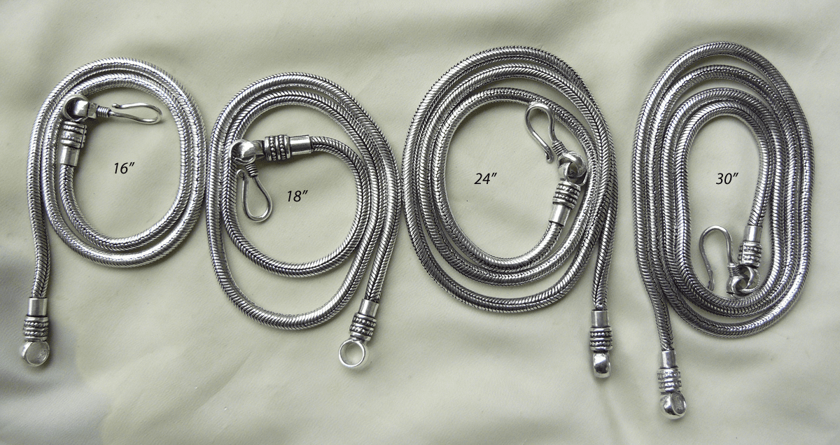 "24"" Silver Chains with removable head 999 Silver over Copper"