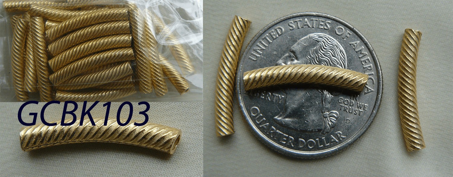 24kt. Gold tubes over copper twisted curve Quantity pack 3x30MM 22 pcs.