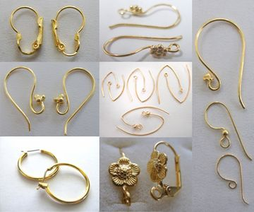 Ear Wires, hoops leverbacks, chandeliers 24kt. Gold Over Copper -