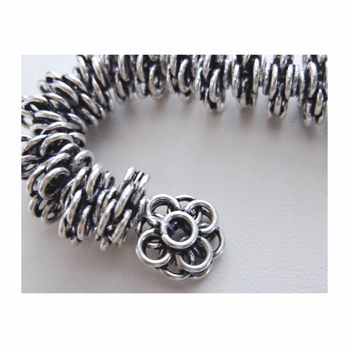 3 Layer Four Leaf Clover - 15x6mm - 33 Beads - .999 Silver Over Copper<br>SCBK174