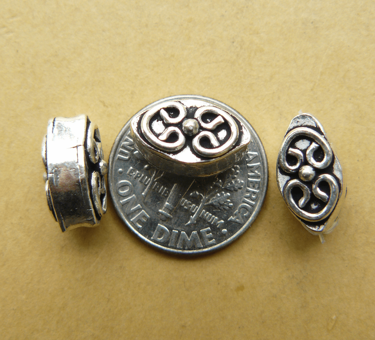 3 Sterling Silver Hollow Oval Beads 6x7x13mm With Fancy Detail