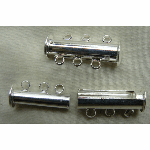 3-Strand Slide Clasp with magnetic catch 999 silver over copper